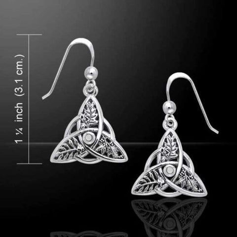 Oak Ash Thorn Earrings in .925 Sterling Silver - Celtic Knot Triquetra Faerie Magick DRUID Earrings