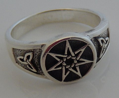 FAERY STAR Elven Ring .925 Sterling SILVER Septagram - TRIQUETRA Fae Elf Magick Ring