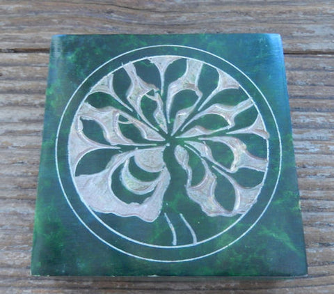 Tree of Life Trinket Box | Green World Tree Soapstone Treasure box | 4x4 inches