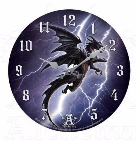 "A Lightning Dragon 13.4"" Wall Clock Alchemy Gothic Fierce Svafnir Norse Dragon Clock"