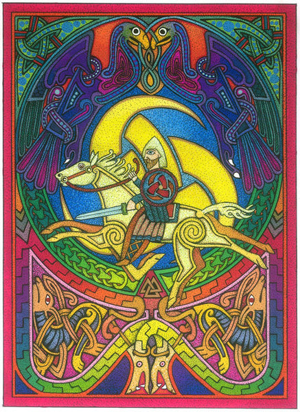 Odin Viking Card Courtney Davis Norse Valknut Runestone Nordic Greeting Card
