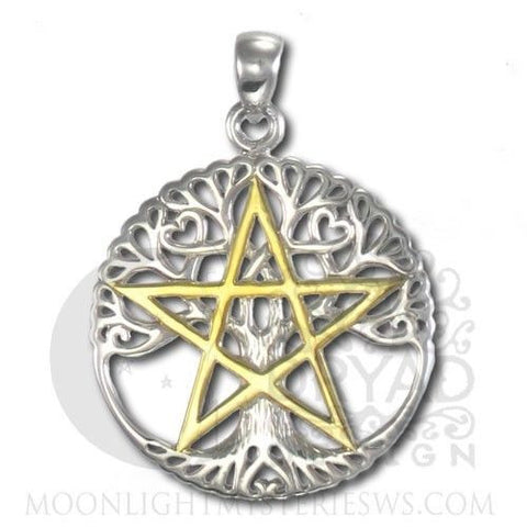 Sterling Silver Tree Pentacle Pendant Dryad Design Cut-out Tree of Life Amulet Pendant