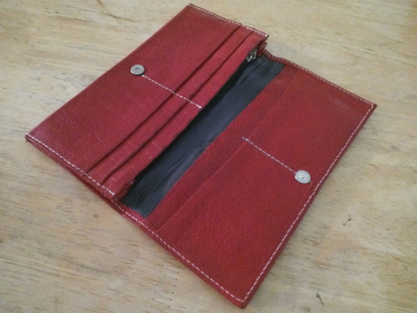 Long Wallet Red Genuine Real Leather UniSex Wallet Hand Made Purse Magnetic Clutch Wallet