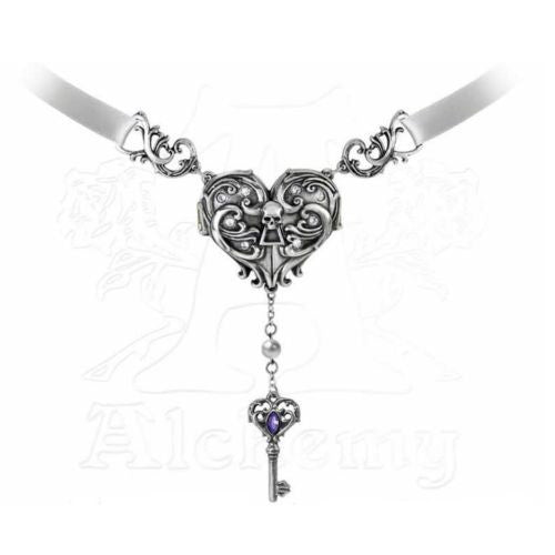 Inamorato Skull Heart Locket Necklace - Alchemy Gothic Necklace Lord Bryon Secret Shrine Pendant