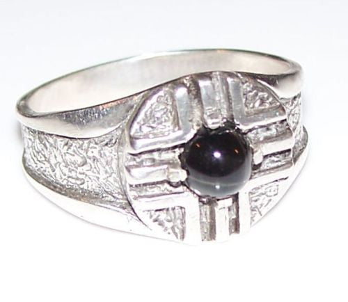 MEDICINE WHEEL Ring .925 S Silver Black Star Diopside FATHER SUN 4 Directions