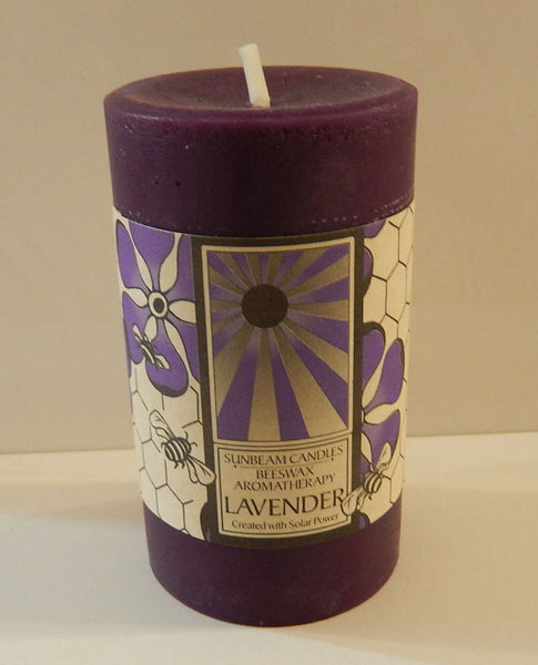LAVENDER CANDLE Beeswax SUNBEAM CANDLES 2x3 Pillar Stress Relief Aromatherapy