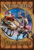 Steampunk Santa Card Anne Stokes Steampunk Reindeer with Sleigh Solstice Greeting Card