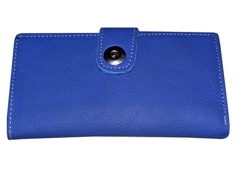 Long Wallet Genuine Leather Unisex Bifold Magnetic Clutch Center Button Blue Purse Wallet