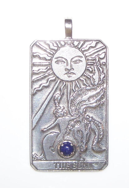 SUN Tarot Card Pendant in .925 Sterling Silver with Genuine Lapis Lazuli