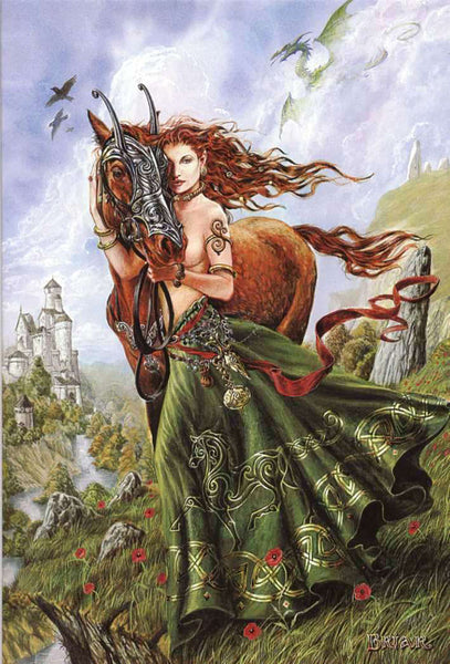 Rhiannon and Celtic Horse Card by Briar Welsh Celtic Epona Goddess Greeting Card