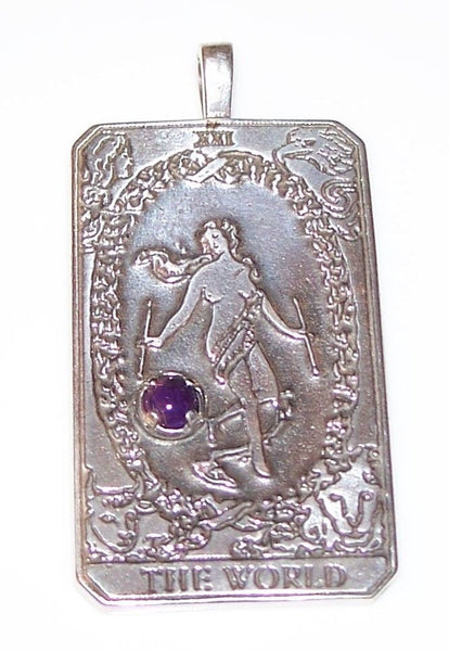 WORLD Tarot Card Pendant in .925 Sterling Silver with natural Amethyst Gemstone