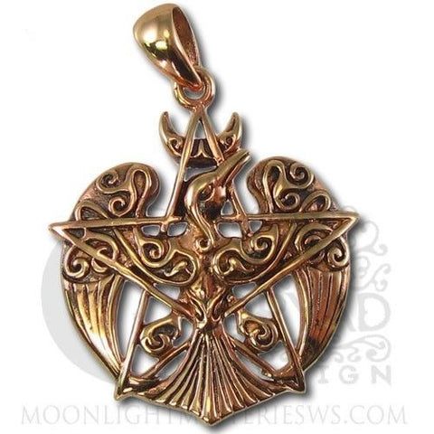Copper Raven Pentacle Pendant Dryad Design Tribal Moon Power Fate Transformation