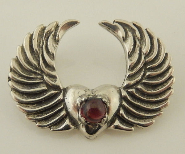 Angel Wing Heart Pendant .925 Sterling Silver with Gemstone Choice - Love and Unity