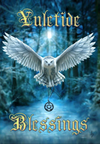 Snowy Owl YULE Card  Anne Stokes Owl in flight Pentacle Pagan Solstice Greeting Card