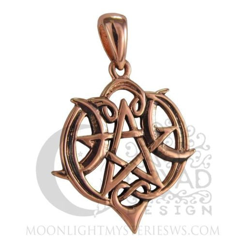 Heart Pentacle Pendant Dryad Design Copper Celtic Crescent Moon Pagan Wicca