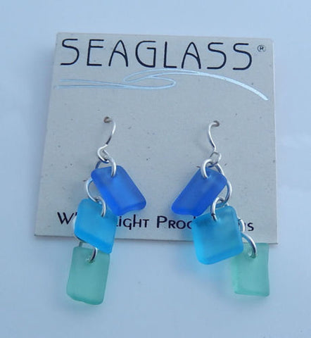 Azure Sea Tropical Sea Glass Earrings in .925 Sterling Silver - Caribbean Sea Side Colors SeaGlass Earrings