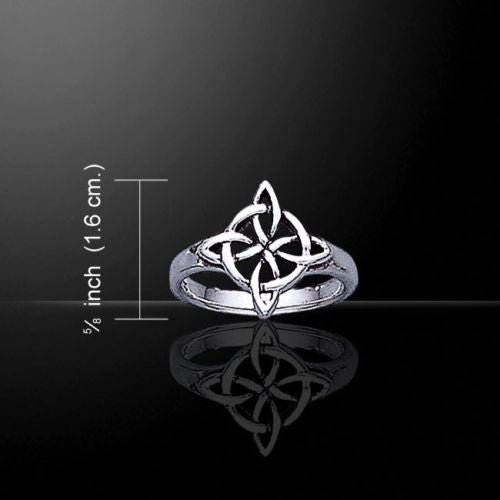 Celtic WITCHES Knot Ring .925 Sterling Silver Quaternary Knot Four Elements