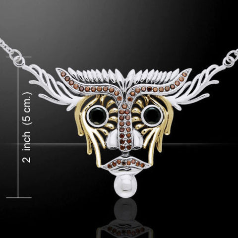 Dali Inspired Animal Art Necklace - Bull Head Necklace in .925 Sterling Silver with Swarovski crystals