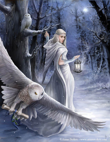 Owl Midnight Messenger YULE Card Anne Stokes Maiden and White Owl Holiday Greeting Card