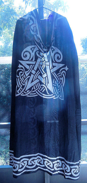 Black Pentacle Cloak | Celtic Animal Pentagram Ritual Robe | Wiccan Pagan Cape Cloak