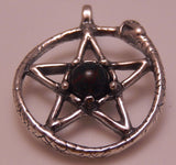 Snake Pentacle Pendant in .925 Sterling Silver with gemstone choice - Ouroboros Pendant Serpent Pentagram