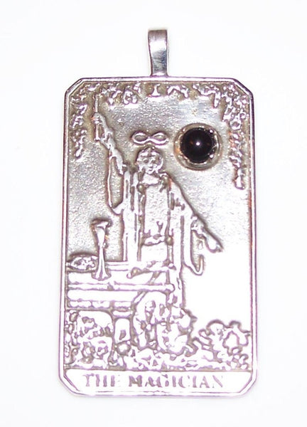 The MAGICIAN Tarot Card Pendant in .925 Sterling Silver with genuine Black Onyx Gemstone