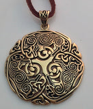 Celtic WOLF Pendant in Gold Tone Bronze - Norse Celtic Triskele Wolf energy amulet