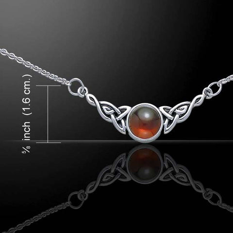 Celtic Knotwork Necklace 925 Sterling Silver Garnet FULL Moon CELTIC TRISKELE