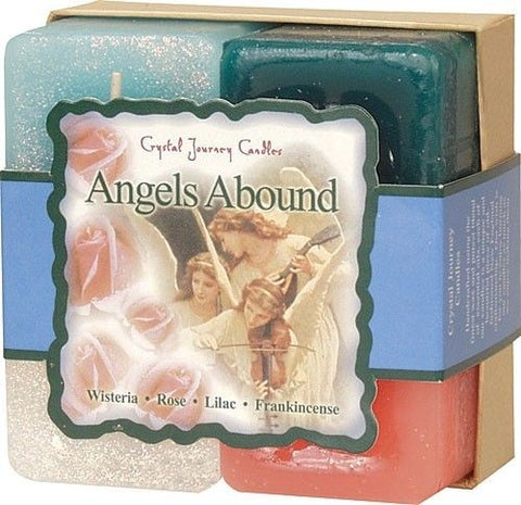 ANGEL'S Abound Candle Crystal Journey Candles 4 Candle Gift Set ANGELIC Blessing