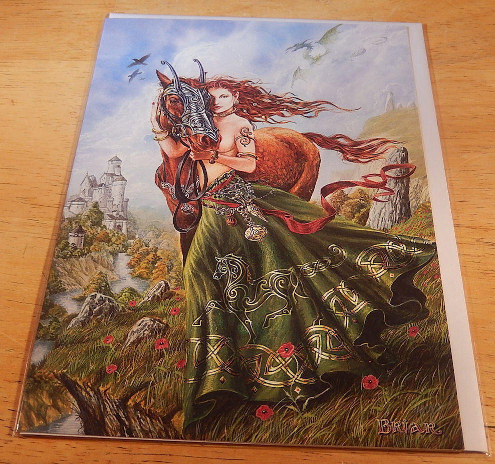 Rhiannon And Celtic Horse Card By Briar Welsh Celtic Epona Goddess