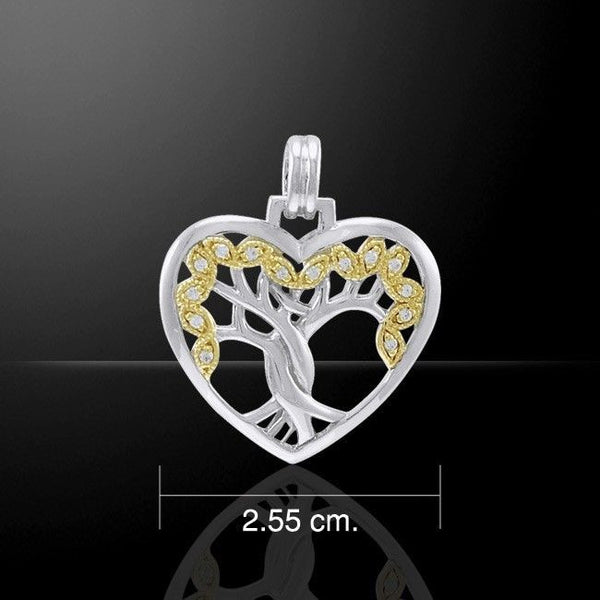 SOLSTICE Tree Heart Pendant .925 Silver Gold vermeil CELTIC TREE of LIFE Pagan