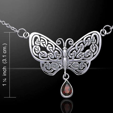 Celtic Knots BUTTERFLY Necklace .925 S SILVER Rebirth TRANSFORMATION Garnet