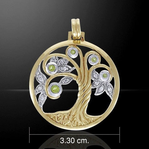 Celtic Tree Pendant .925 Sterling Silver with Gold vermeil - Celtic Tree of Life pendant with peridot gemstones