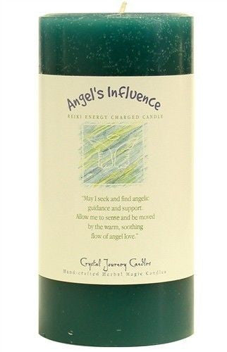 ANGEL'S INFLUENCE REIKI candle - Crystal Journey Candles Turquoise Angel 3 x 6 Pillar Herbal Magic Candle