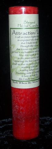 ATTRACTION LOVE Candle Wiccan Pagan COVENTRY CREATIONS Blessed Herbal Pillar