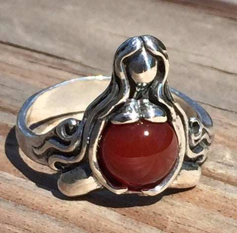 GODDESS of ABUNDANCE RING in 925 Sterling Silver MOTHER Midwife ring w/ genuine Carnelian