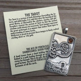 Ace of Pentacles Tarot Card Pendant .925 Sterling Silver with Genuine Gemstone Choice