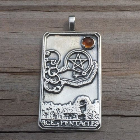 Ace of Pentacles Tarot Card Pendant .925 Sterling Silver with Genuine Natural Amber