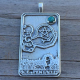 Ace of Pentacles Tarot Card Pendant .925 Sterling Silver with Genuine Chrysocolla