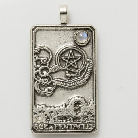 Ace of Pentacles Tarot Card Pendant .925 Sterling Silver with Genuine Rainbow Moonstone