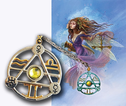 Elemental Air Talisman and Card Gift Set - Venus Mercury Uranus Planetary Sigils - Libra Gemini Aquarius Pendant