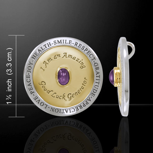 Amazing Good Luck Generator Pendant  925 Sterling Silver with Gold accent  and Amethyst gemstone