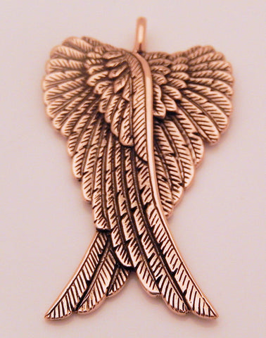 Angel Wings Pendant in Gold tone Bronze - Guardian Angel with Large Folded Angelic Wings Pendant