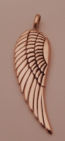 Angel Wing Pendant in Gold tone Bronze - Guardian Angel Large Single Angel Wing