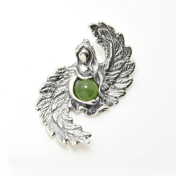 ANGEL of ABUNDANCE Pendant in .925 Sterling SILVER with Natural Jade - for Prosperity, Spiritual bounty, & to protect Assets