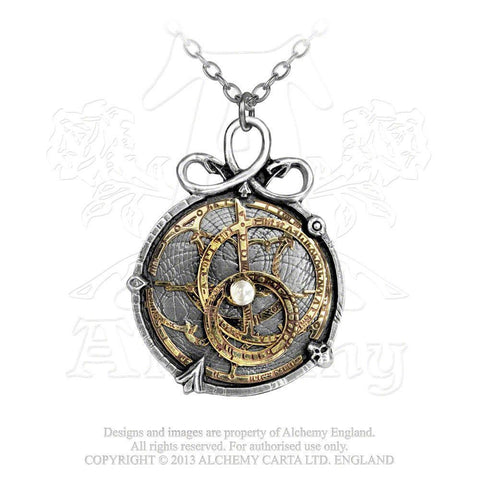 Anguistralobe ALCHEMY Gothic Pendant Necklace - SERPENT Steampunk Astrolabe Amulet