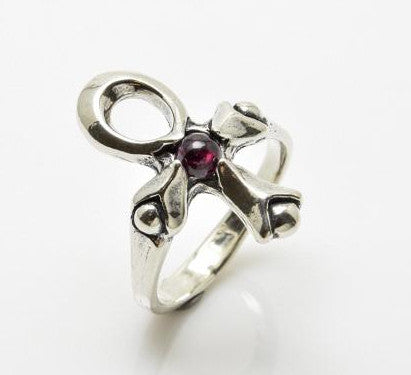 Sterling Silver Ankh Ring with Genuine Garnet Gemstone