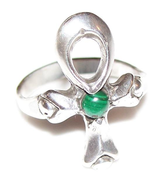 Ankh Ring in solid .925 Sterling Silver with Genuine Malachite Gemstone - Egyptian Ankh