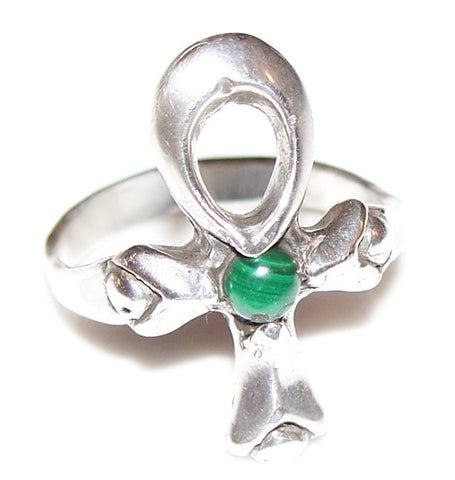 Ankh Ring in .925 Sterling Silver - Kemetic Egyptian Ankh Jewelry with choice of natural gemstone