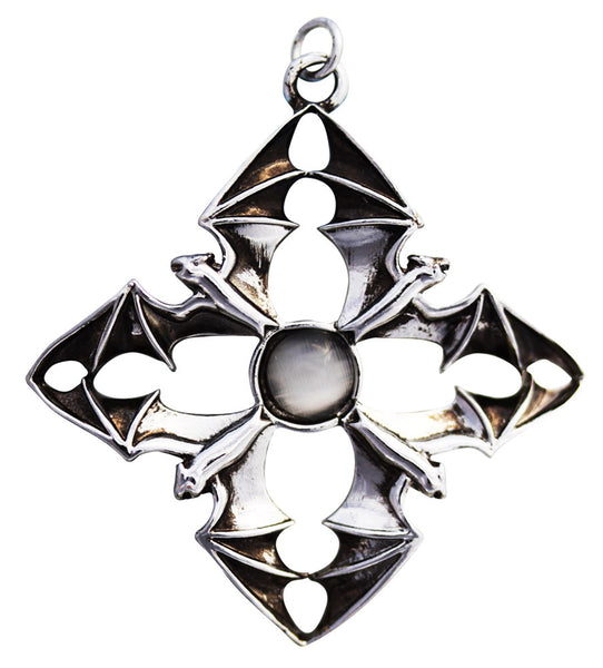 Bat in Flight Cross Quarters Pendant by Anne Stokes - Nocturnal Arcanus for fulfilling wishes amulet